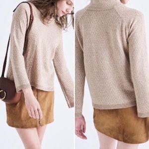 Madewell cinema mockneck sweater in chevron